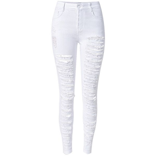 Choies White Extreme Distressed Rip Detail Skinny Jeans (£17) ❤ liked on Polyvore featuring jeans, pants, bottoms, calças, pantalones, white, destroyed denim skinny jeans, white distressed jeans, white destroyed jeans and ripped skinny jeans