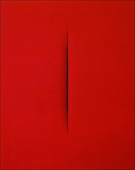 "Concetto Spaziale by the late Lucio Fontana (1965).     He executes the first perforated canvasses in 1949, they all carry the title ""Concetto spaziale"" (Space Concept). Lucio Fontana pierces the canvas, thus opening the image area, entirely doing without the conventional illusionist means of composition - Red #love #food #sex #erotic #sexy #small #thing #red http://love-food-sex.blogspot.com/"