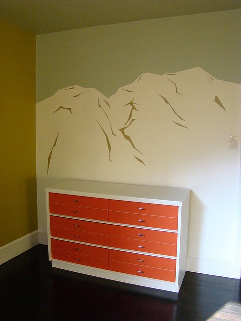Love this mural and dresser pairing. Get idea  and color palette for little boys growing quickly.