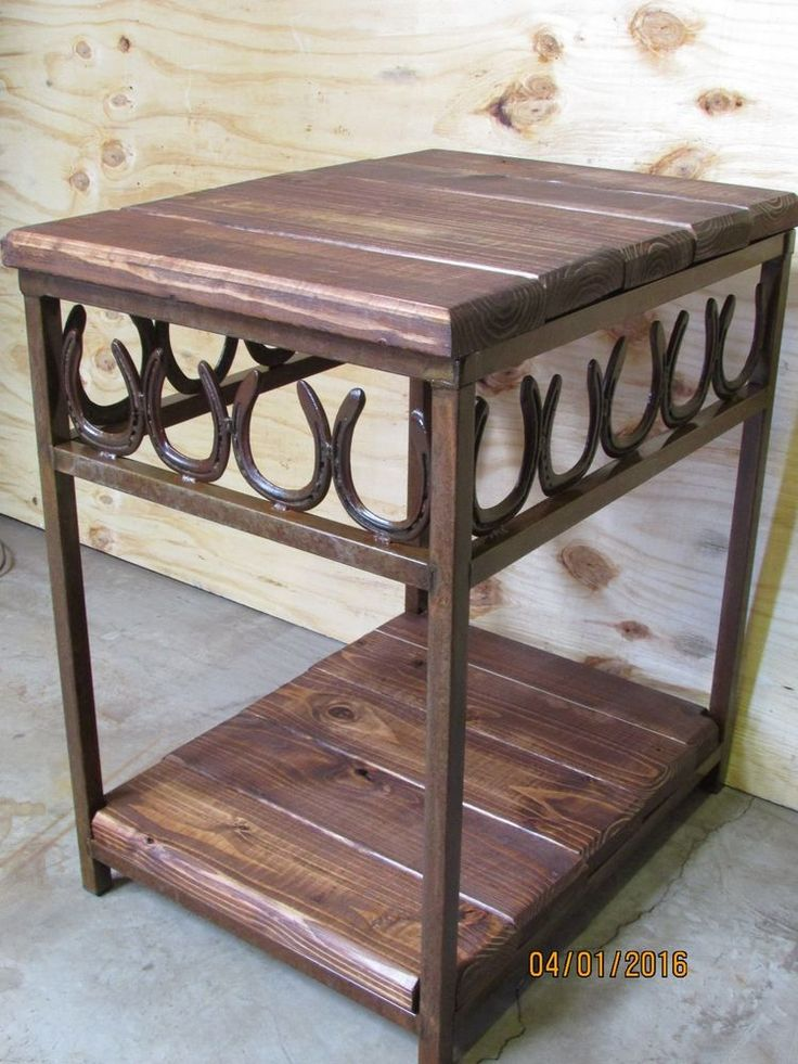 Western Rustic Horseshoe Night Stand End Table Handmade To Order #DG