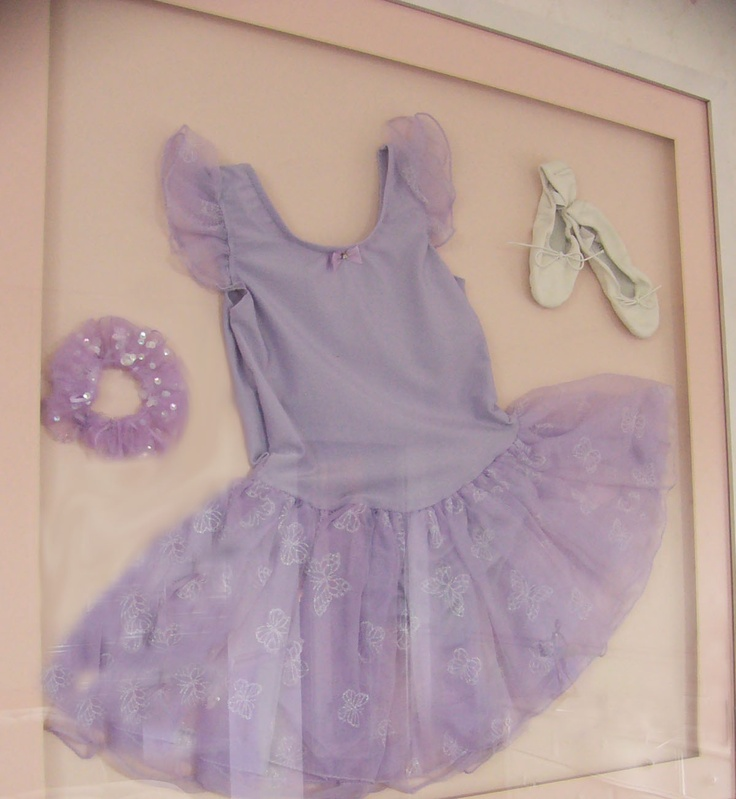 Shadow box of dance related items - Maybe Maddy's first satins and Pre-Primary Ballet certificate