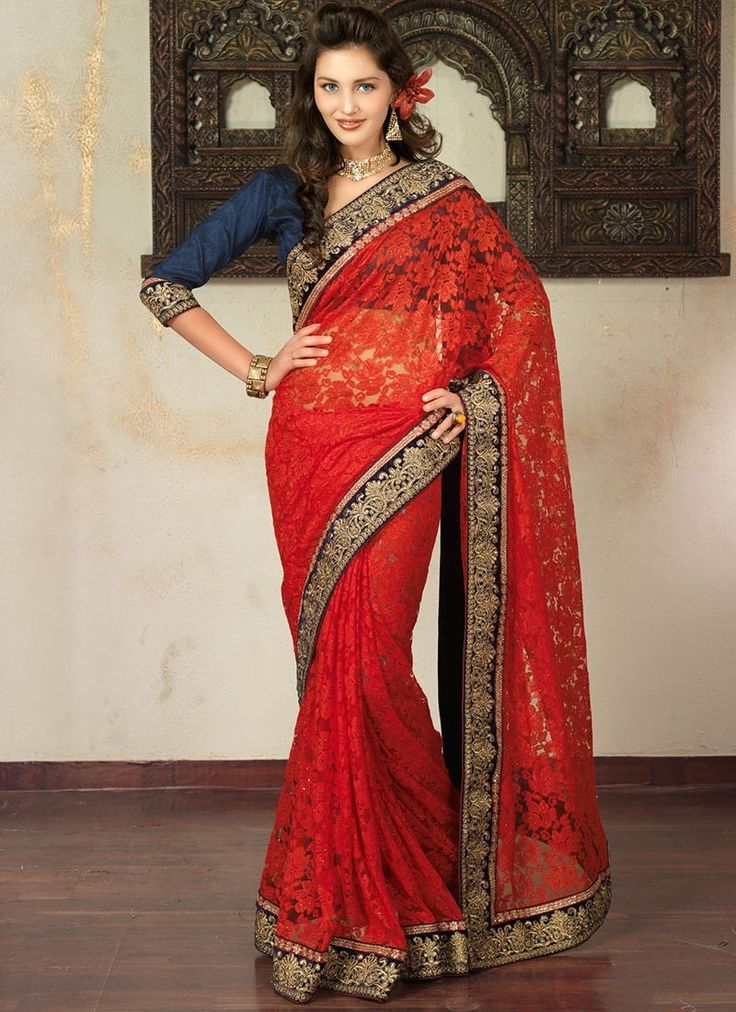 Pleasing Red Net Saree