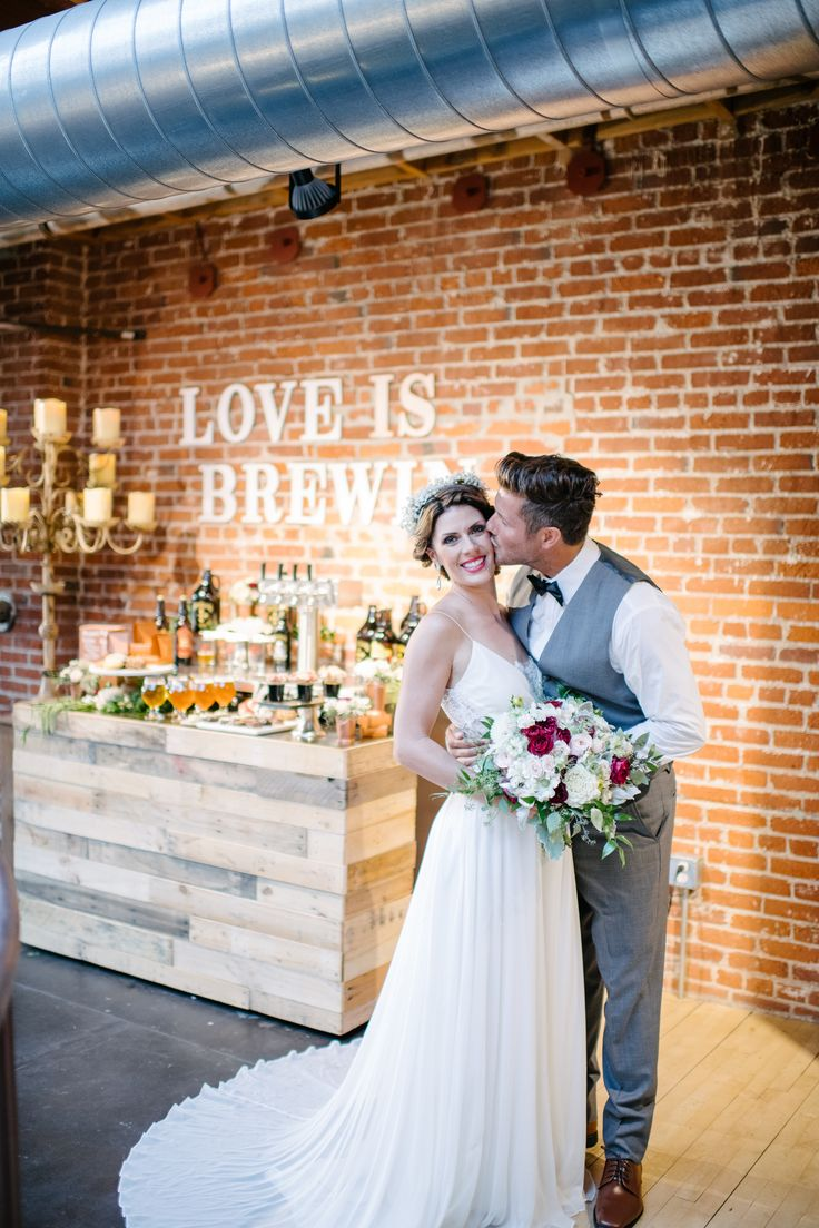 "BREWERY WEDDING INSPIRATION | We loved designing this ""Love is Brewing"" dessert bar! We love the industrial - glamorous brewery wedding at Mission Brewery in San Diego. Be sure to click to see the full gallery! 