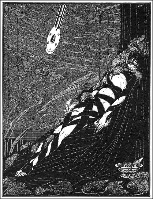 """Они нажимается: они роились на меня это когда-либо накапливая куч.  Гарри Кларк, Иллюстрация к """"Колодец и маятник» из сказки Эдгара Аллана тайны и воображения, 1923 (источник)."""