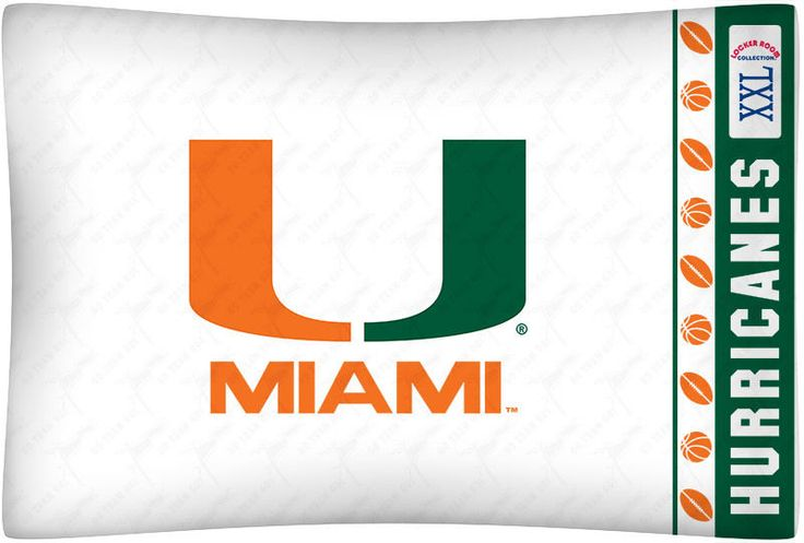 Miami Hurricanes Sports Coverage Team Color Standard Pillowcase Logo #SportsCoverage