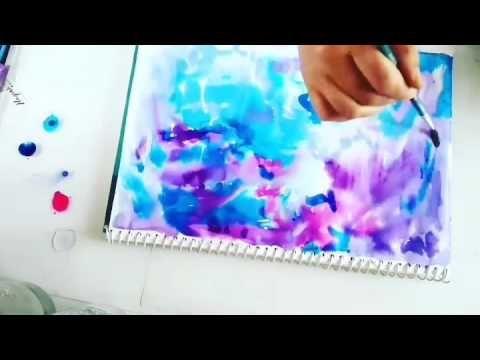 Watercolor galaxy background. Wet on Wet technique. Use acrylic ink/paint or gel pen for stars .  https://artaurabynagashree.wordpress.com/ #paintpen #starynight #cosmic #galaxy #watercolor #whitegelpen