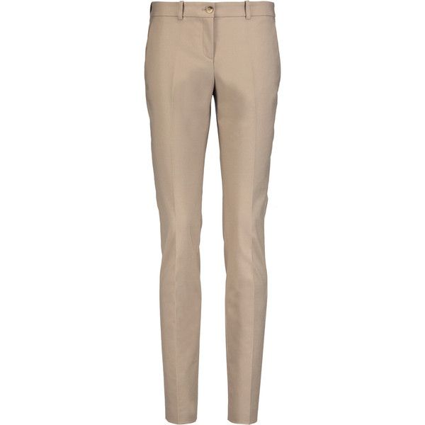 Michael Kors Collection Stretch-cotton slim-leg pants (665 ILS) ❤ liked on Polyvore featuring pants, sand, michael kors, slim pants, cotton stretch pants, brown trousers and slim fit pants