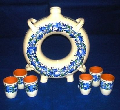 Hungarian brandy set with 6 pieces. It is handmade.