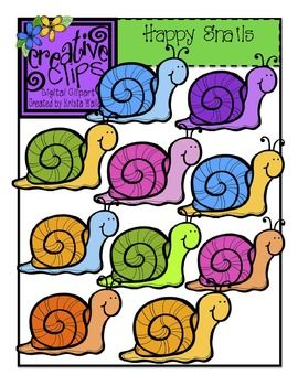 Happy Snails Clipart! Color and Blackline included!$