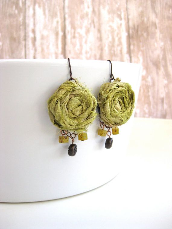 Fresh  Silk sari ribbon rosette earrings in by CheekyChickDesigns, $16.00