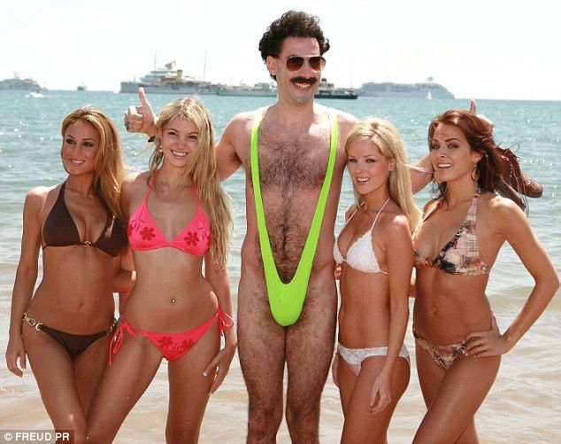 Comedy attire: The mankini was made famous in 2006 film Borat, seen being promoted here at the Cannes Film Festival in the same year by acto...