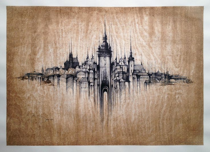 BRNO PANORAMA The second largest city in the Czech Republic  Drawing on watercolour paper, stained with coffee, 65x50cm, ink  © Pavel Filgas 2016