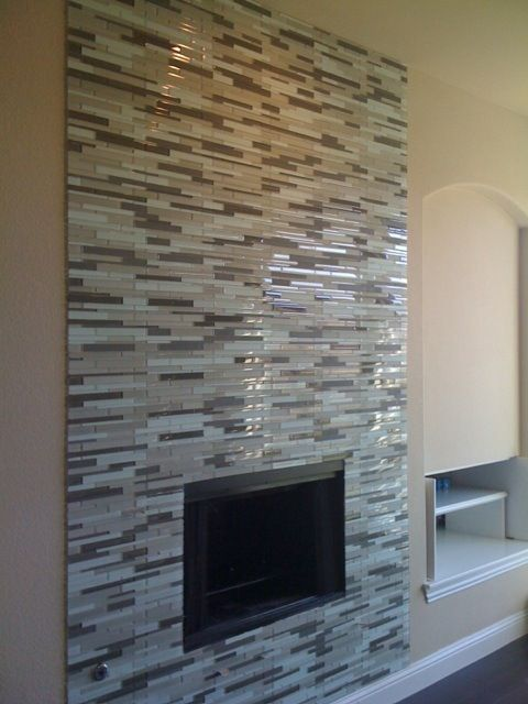 Grey glass mosaic tile fireplace surround Maybe a ribbon that goes all the  way up? - 17 Best Ideas About Glass Tile Fireplace On Pinterest White