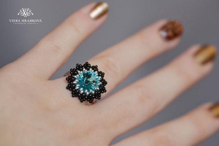 Crystal Swarovski rivoli ring, adjustable ring, rhodium plated by VEHA on Etsy