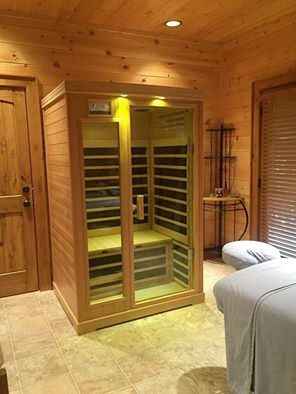 Infrared Sauna - Teatrees Boutique Spa. Our new Infrared Sauna offers the benefits of heat therapy and the added benefits of Infrared Therapy. Unlike a traditional Sauna, infrared heat is direct, radiant heat that penetrates into the deeper tissue layers. As a result it can be very helpful to raise the body core temperature to burn calories, increase circulation, relax the muscles and tissues and reduce pain, open the pores and detoxify the body through sweating.  Blue Ridge Mountains…