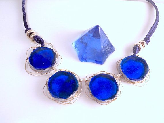 """Modern necklace in glass fusing and sterling by LaTerraCantacode """"RENEWAL"""" -30% ALL ITEMS!!ENJOY!!"""