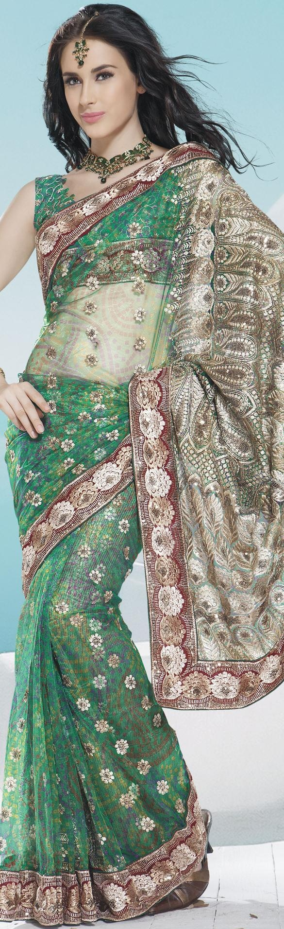 $81.64 Greenish Blue Net Bandhej Saree 16635 With Unstitched Blouse