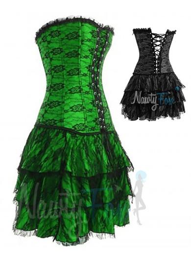Green Lolita Gothic Corset,Skirt Costume Set