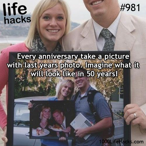 Every anniversary take a picture with last years photo. Time Capsule moment. Save these photos in your Wedding Time Capsule, to open at your 50th Anniversary and see the progression over those years. What fun. Get a decorative Wedding Time Capsule from www.timecapsule.com