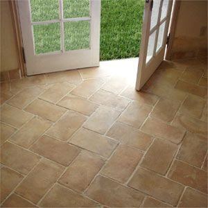 Pretty herringbone tile floor