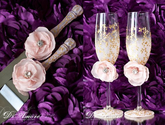 Blush pink/gold cake knife and server  & wedding glasses / LACE cake accessories