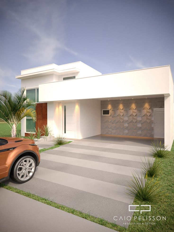 projeto de moradia térrea 180 metros fachada moderna condomínio terreno   – Projetos de casas