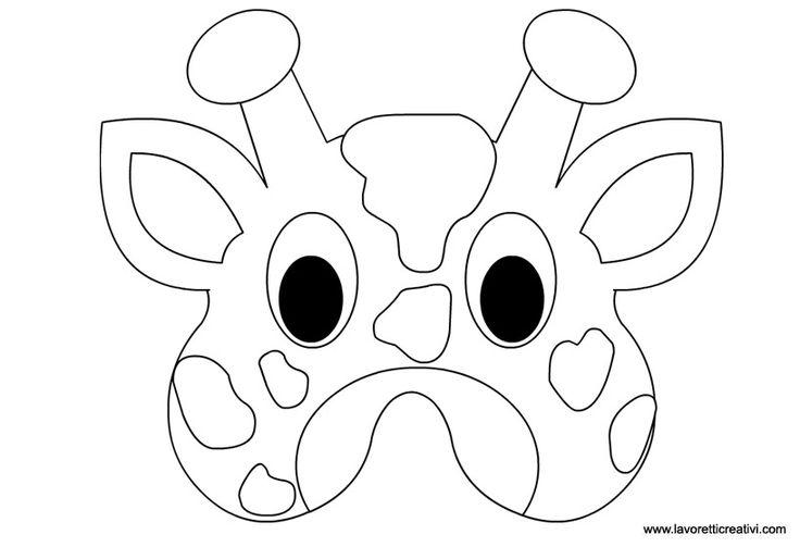 Maschera di giraffa da incollare su cartoncino ritagliare for Maschere da colorare animali