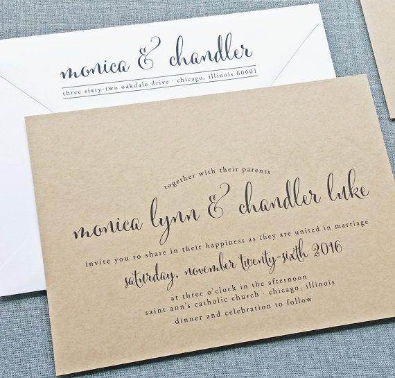 Monica calligrafia Script riciclata Kraft nozze di CricketPrinting