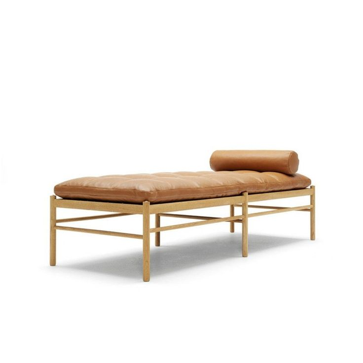 Ole Wanscher Daybed OW150 Brown Leather with Neckrest Carl Hansen