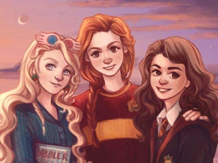 Luna Lovegood, Ginny Weasley and Hermione Granger by wiebkeart : harrypotter in 2020 | Harry