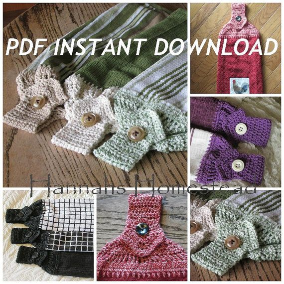 *************** This listing is for Instant Download Crochet Pattern Only. It DOES NOT include the finished item!!! ***************  I have finished towels available in my shop here: https://www.etsy.com/shop/HannahsHomestead2?section_id=14183464&ref=shopsection_leftnav_6  Find another towel top pattern here: https://www.etsy.com/listing/189630471/kitchen-towel-top-crochet-pattern?ref=shop_home_active_3  This is one of the best ways to keep your towels handy- a Hanging Kitchen Towel. This…