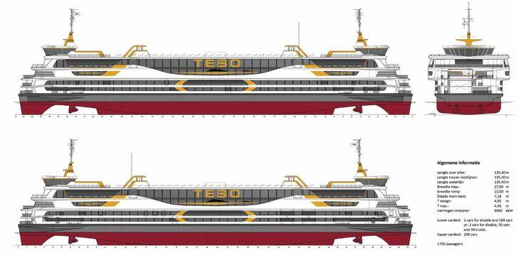 Hieronder het laatste nieuws omtrent de nieuwe boot die t.z.t de Schulpengat zal vervangen. Naam: TEXELSTROOM. Klik op de tekening voor een vergroting     Texel