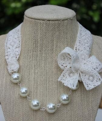 Girls Pearl Necklace Childrens Lace Pearl Necklace by Beagonza
