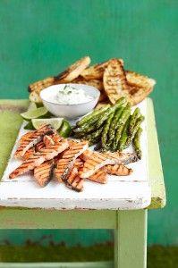 Easy BBQ friendly fish dish! Salmon and asparagus crostini!
