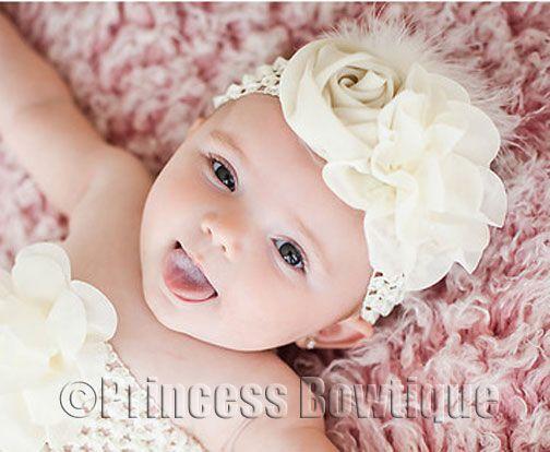 Elegant Ivory Chiffon Rose Infant Baby Vintage Headband: Buy Baby Headbands & Hair Bows at Princess Bowtique