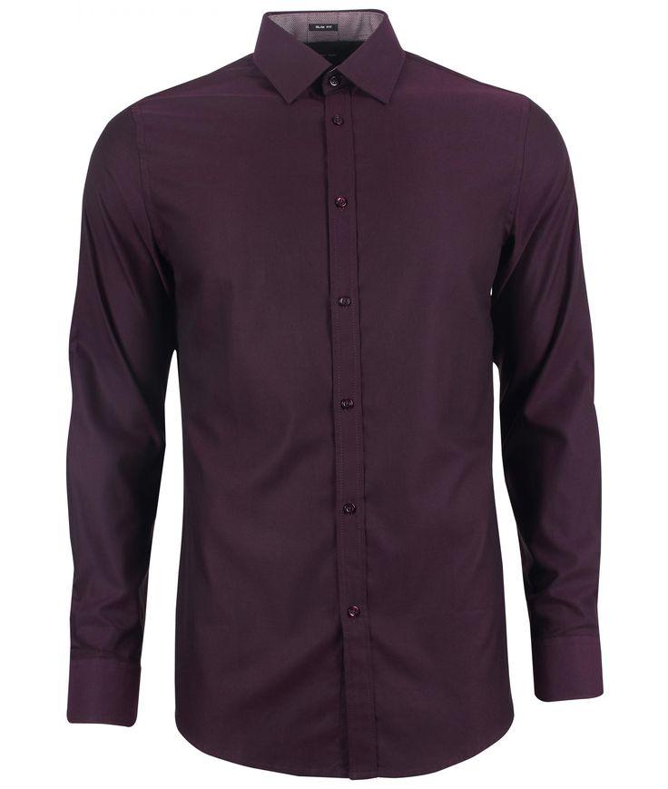 Donker effen slim fit hemd - Hemden - Kleding - Heren
