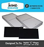 2-Pack Idylis C Hepa Air Purifier Filter PLUS 2-Pack Carbon comparable filters for IAP-10-200 IAP-10-280; Home Revolution Brand Quality Replacement (1)
