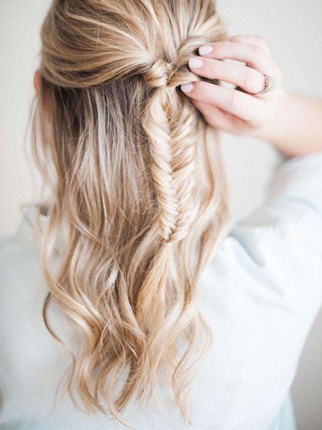 half-up fishtail braid tutorial