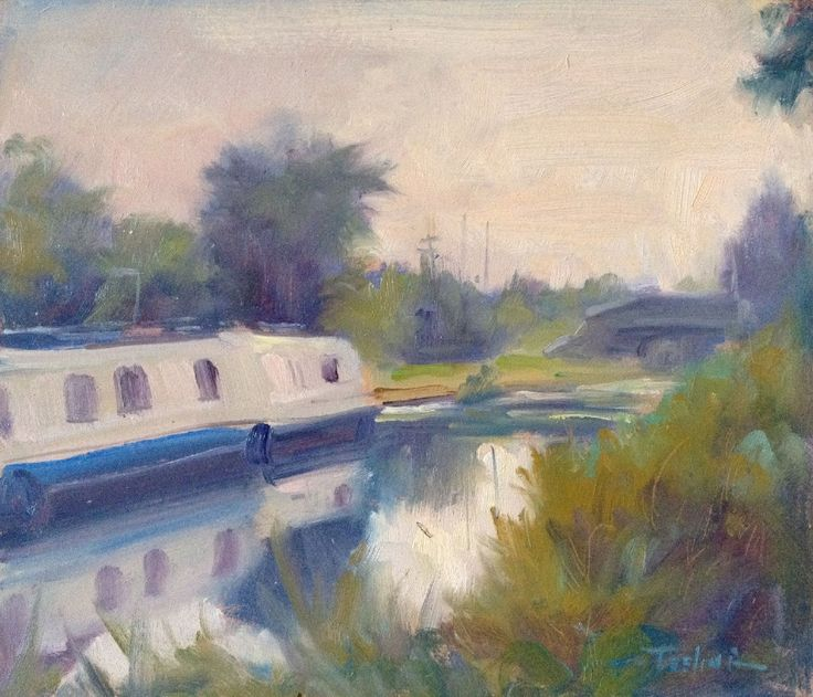 The Barge, Grand Canal, Castleknock, Dublin by Norman Teeling on ArtClick.ie