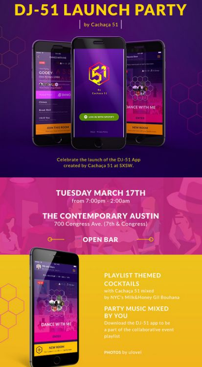 smallgirls:Going to SXSW? Party with us for the launch of DJ-51 by Cachaça 51 at SXSWTuesday, March 17 7PM-2AMThe Contemporary Austin 700 Congress Ave Famous in the US for being the key ingredient in specialty cocktails such as the Caipirinha, Cachaça 51 will soon be known for something else — their crowd-sourced playlist & beat-matching app, DJ-51. Playlist themed cocktails with Cachaça 51 mixed by Milk & Honey's Gil Bouhana.Party music mixed by you!More information on the event can be…