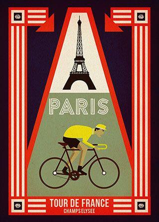 Paris Tour de France Cycling poster