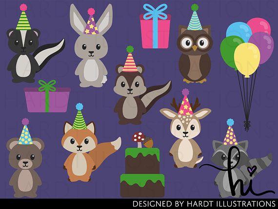 Birthday Woodland Animals Clipart Birthday Clipart Party Etsy Cute Animal Clipart Animal Party Woodland Animals