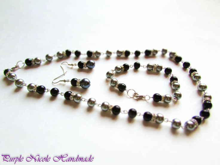 Classical Elegance - Handmade Jewelry Set: necklace, bracelet and earrings, by Purple Nicole Handmade (Nicole Cea Mov). Materials: metallic accessories, glass black and grey pearls, shinny transparent rhinestones.