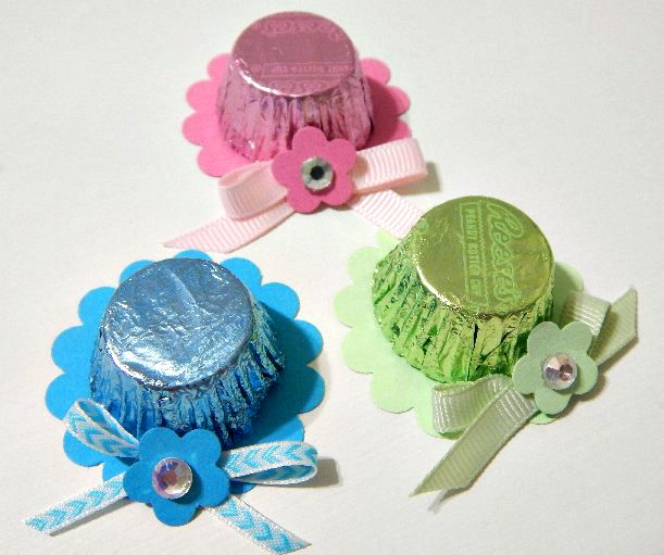 Easter Bonnets or Mother's Day Hats using Reese's Peanut Butter Cups:  Easy, quick, and you can you scrap cardstock and ribbon.