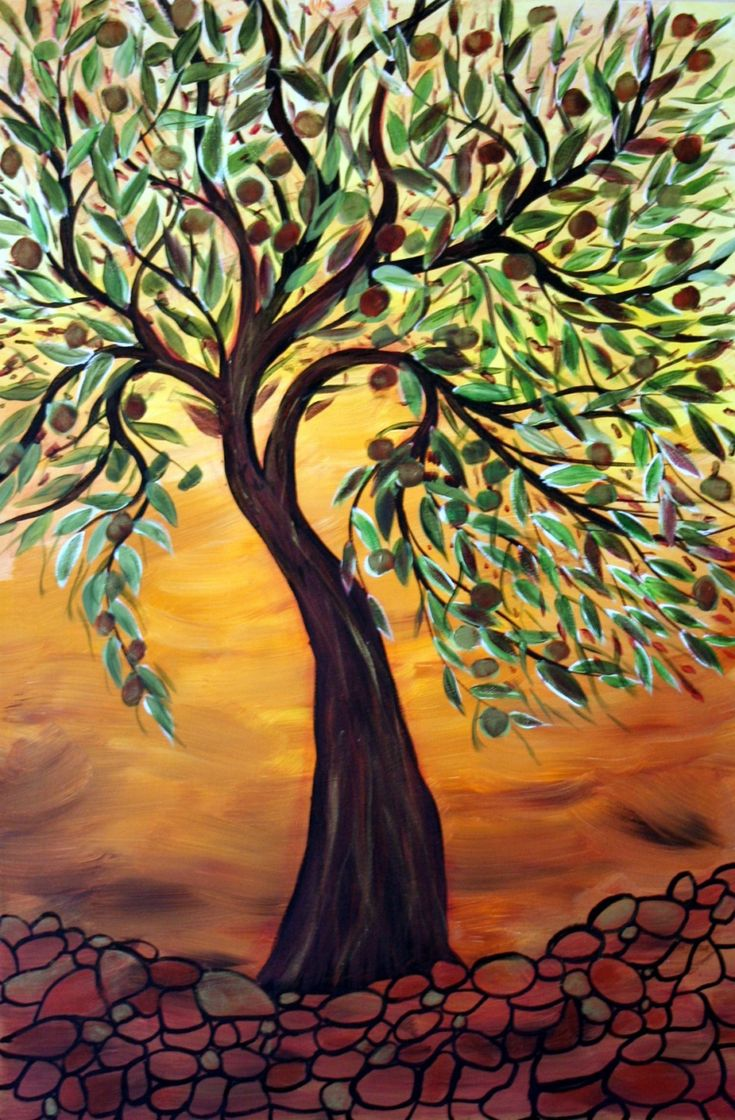 OLIVE TREE at SUNSET 24X36 ORIGINAL OIL PAINTING on Stretched Canvas