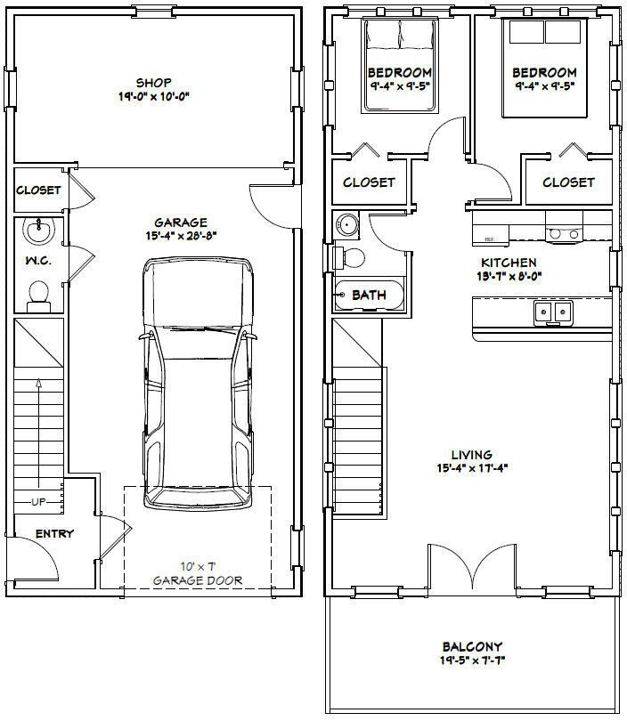 20x40 House -- 2 Bedroom 1.5 Bath -- 1,053 sq ft -- PDF ...