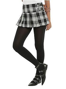 Plaid, buckles & pleats! // Royal Bones By Tripp Black White Plaid Skirt