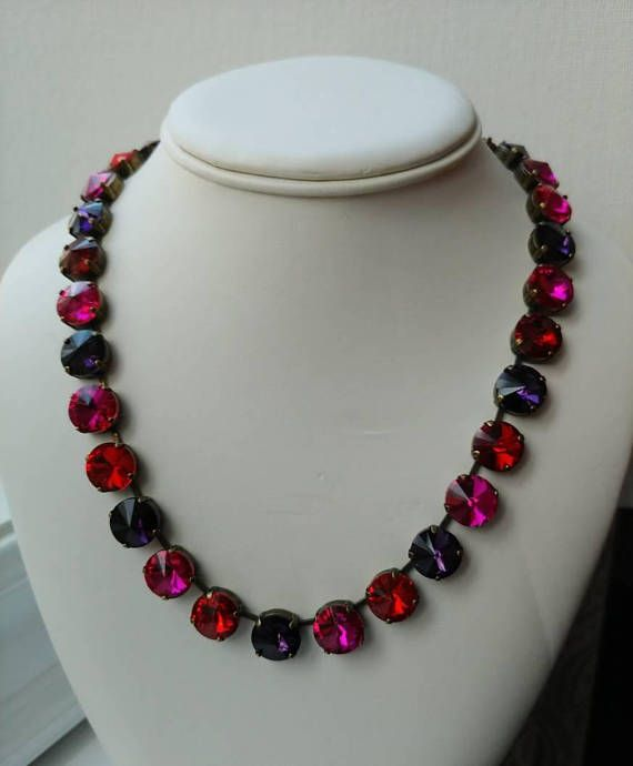 Check out this item in my Etsy shop https://www.etsy.com/ca/listing/570233262/multicolor-crystal-necklace-colorful