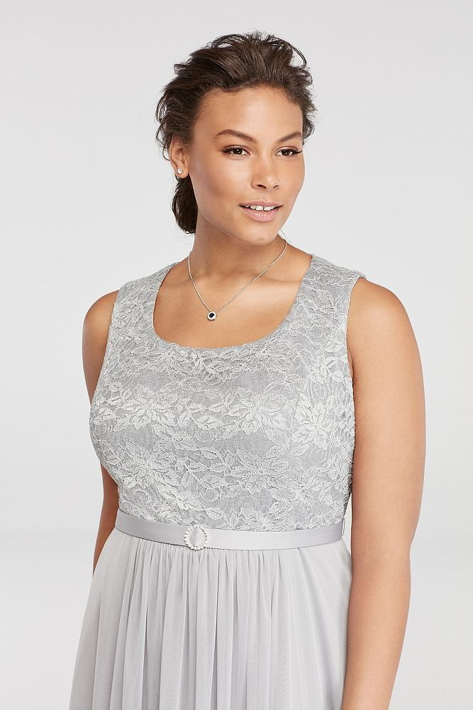 a93f01a4fd0 Davids Bridal Plus Size Mesh Belted Mother Of Bride Groom Dress With 3 4  Sleeved Lace.   You can get more details by clicking on the image.