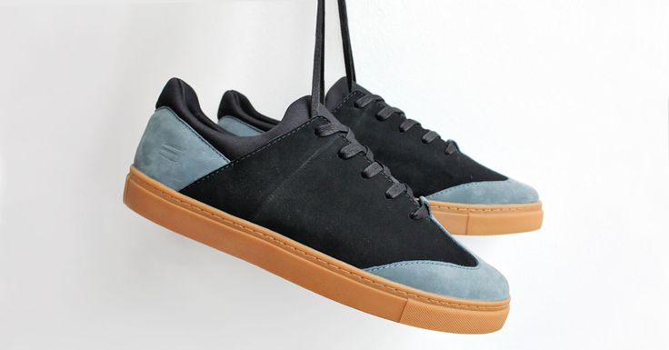Cable sneakers by ELECT Footwear - Customized in black and bluestone nubuck leather, black laces and gum soles. #electfootwear #leather #mens #shoes